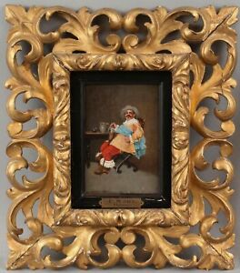 19thC Antique Signed Italian Portrait Oil Painting Cavalier Man Florentine Frame