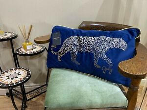 "Juicy Couture Home Cushion LTD Leopard Print Gold Blue JC72 Designer 14"" x 24"""