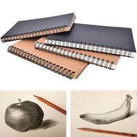 Retro Spiral Bound Coil Sketch Book Blank Notebook Kraft Sketching Paper Bump