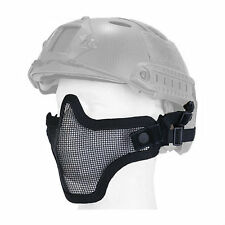 Mesh Half Face Helmet Mask Airsoft Paintball Protective Tactical Gear Black New