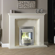 """ELECTRIC CREAM IVORY SILVER PEBBLE FIRE WALL SURROUND FIREPLACE SUITE LARGE 54"""""""