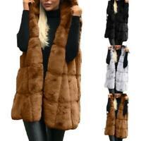 Damen Kunstpelz Weste Winter Warm Ärmellos Parka Freizeit Mantel Outwear D
