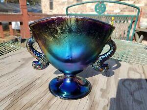 Fenton Carnival Stretch Glass Black Amethyst Iridescent Dolphin Handle Fan Vase