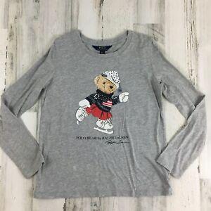 Ralph Lauren Polo Bear Ice Skater USA Flag Long Sleeve T Shirt Girls Sz L 12 14