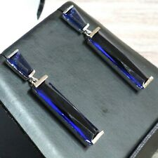Vintage Baguette Blue Sapphire Earrings White Gold Jewelry Nickel Free Gift