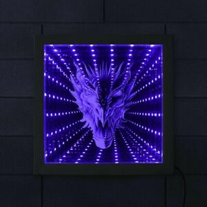 Mythical Beast Dragon Head LED Infinity Mirror Frame Stunning Optical Illusion