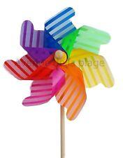 Moulin à vent multicolore à rayures 31 cm, déco de jardin, éolienne Neuf