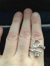 Alice Wonderland Steampunk Wrap around Skeleton Silver Key Ring up to Size Q