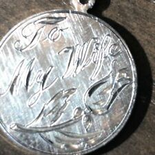 """Silver Floral Disc Charm Pendant Vintage """"To My Wife"""" Sterling"""