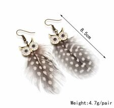 Boho Festival Party Boutique Uk New Brown Owl Feather Tassel Fashion Earrings