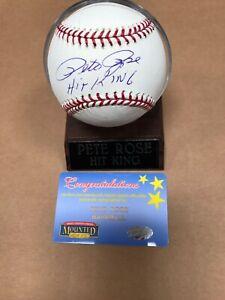 "Pete Rose Signed Baseball ""Hit King"" Inscription Mounted Memories"