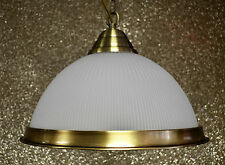 GLASS CEILING PENDANT FITTING  ANTIQUE BRASS/CHROME AMERICAN DINER