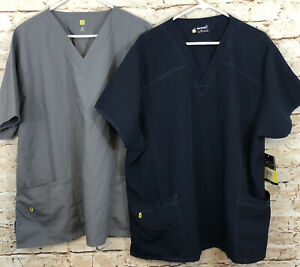 Wonder Wink Scrub Top Size 3X LOT of 2 NEW navy blue gray one performance G9