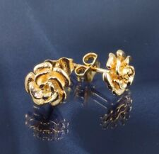 Solid 9ct Gold Rose Stud Earrings .