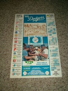 "1988 Los Angeles Dodgers (Vero Beach Schedule Cardboard Poster) 14"" by 22"""