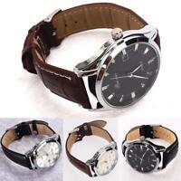 Classic Men's Analog Quartz Alarm Auto Date Display Steel Leather Wrist Watch GA