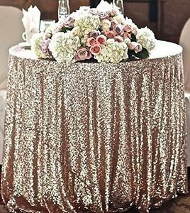 "50""x72"" Champagne Blush Sparkly Sequin Tablecloth for Wedding"