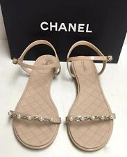 Chanel Cruise 16C Nude Patent Leather Pearl Chain Strappy Sandals Flat Shoes 41