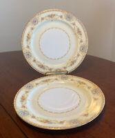 "Set of 2 Noritake China Coypel 3732 Flowers, Gold Trim - 10"" Dinner Plates"