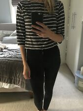 Topshop Grey And White Stripe Breton Cropped Loose Fit Top, Uk Size 4 Petite