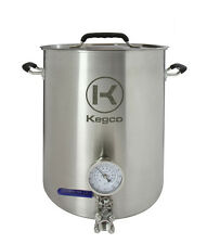 Kegco 8 Gallon Brew Kettle with Thermometer and 3-Piece Ball Valve