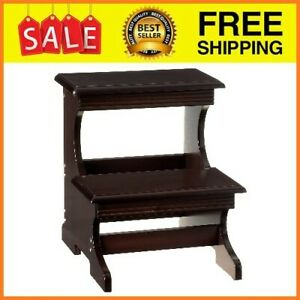 Wooden Step Stool High Beds Adults Two Stair Ladder Home Kitchen Furnishing Tool