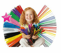 100 Craft Pipe Cleaners Stems HD chenille 30cm x 4mm  10 Colours NEW Felt