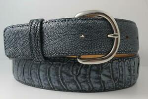 Genuine Washed Navy Ostrich Leg Leather Belt (Made in U.S.A)