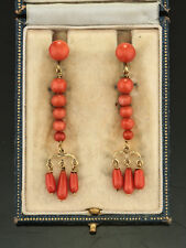 GEORGIAN NATURAL CORAL BORBONIC DROP EARRINGS