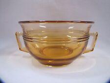 Vintage Glass Sugar Bowl with Handles Ridged Pattern Amber Glass Vintage