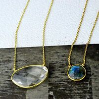 Fire labradorite,Clear Quartz Necklace lot 925 Sterling Silver 18 and 18.5 inch