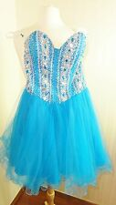 TERANI COUTURE PROM DRESS Blue Party Short SIZE 2  Gilrs Women Gown XS