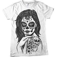 el muerte sugar skull flower girl ladies tattoo mens t shirt dtg screen print