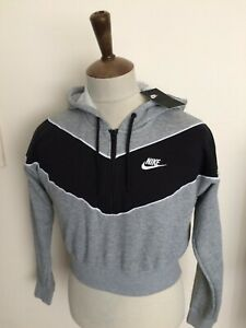 RETRO NIKE CROPPED HOODED SWEAT SHIRT TOP SIZE LADIES SIZE 4 SMALL 8-10 GREY NWT