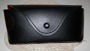 Luxottica Aviator Ray Ban Eye Glasses Case & Cloth NO GLASSES Black w red lining