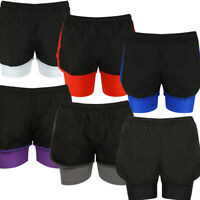 Ladies Shorts 2 in 1 Active Wear Sports Fitness Running Gym Jogging Womens