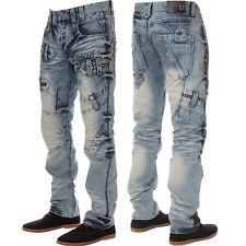 New ETO Designer Mens Straight Leg Jeans Blue Wash Stylish Detail Denim Pants