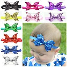 Baby Girl Kid Child Sequin Glittery Stretchy Elastic Bow Headband Hair Head Band