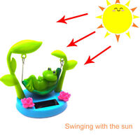HK- Solar Powered Cartoon Swing Frog Car Dashboard Interior Ornament Toy Gift Ho