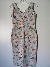 Dolce&Gabbana Light Blue Floral V-Neck Sleeveless Below Knee Dress 26/40 US 4