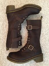 Dr Martens Josefa Boots Women's Size 11 Brown Doc Tall Zipper Leather