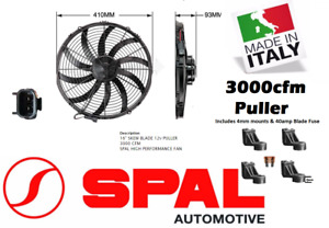"For Spal 16"" Thermo Fan Skew Blade 12v Puller 3000 CFM Low Profile New Extreme"
