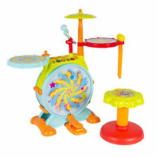 Kids Toddler Electronic Toy Drum Microphone Sticks & Stool Set Cymbal Sing Along