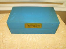 "VINTAGE ""THE AMERICAN HOME MENU MAKER METAL RECIPE BOX (BLUE WITH RECIPES)"