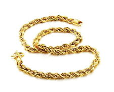 24K GOLD PLATED STAINLESS STEEL ROPE NECKLACE CHAIN MEN WOMENS 6MM
