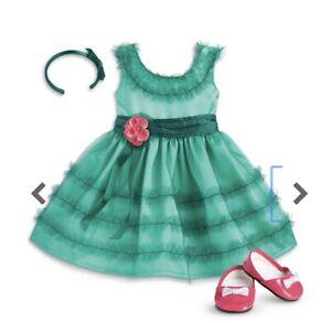 NEW American Girl Maryellen's Green Birthday Dress W/ Shoes Hairband RETIRED