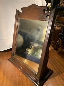 Antique Victorian Steampunk Vanity Dresser Top Shaving Mirror~Old Mahogany Wood