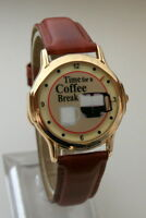 Vintage Time For a Coffee Break Mystery Cup Dial Parody Watch New NOS 1990s