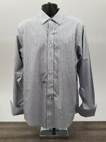 Brooks Brothers 1818 Men's Shirt Size 16 / 35 Supima French Cuff Blue Stripe