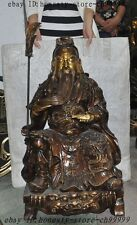 Chinese bronze gilt dragon guangong guanyu Warrior Generals Read books Sculpture